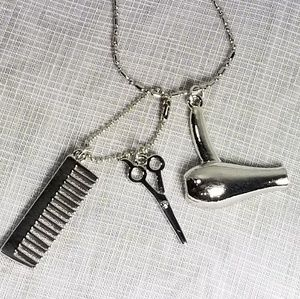 Hairstylist Silver Necklace Comb Scissors Hairdrye